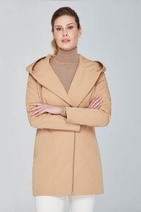 Długi fioletowy jesienny płaszcz damskie Passero Mela